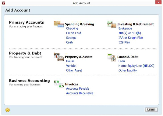 The Add Account window allows you to select the type of account you want to set up.