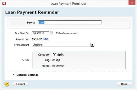The Loan Payment Reminder dialog box.