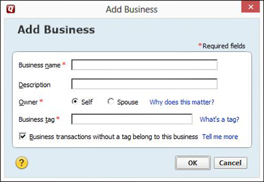 The Add Business dialog box.
