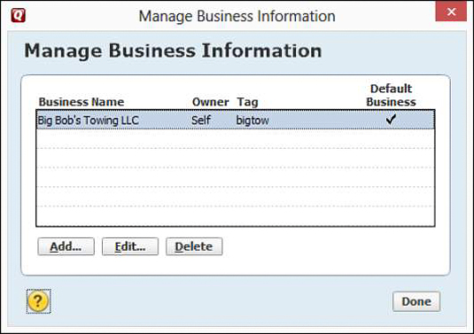 The Manage Business Information window.