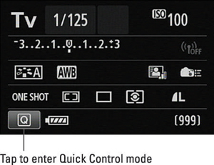 Figure 1: To shift to Quick Control mode from the Shooting Settings screen, tap the Q icon or press