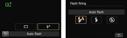 Change the flash setting via the Quick Control screen.