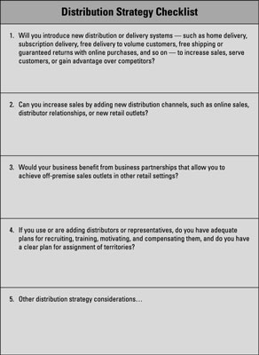 business marketing plan distribution pricing and promotion