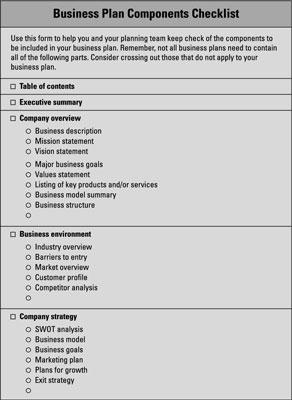 business plan check list dummies