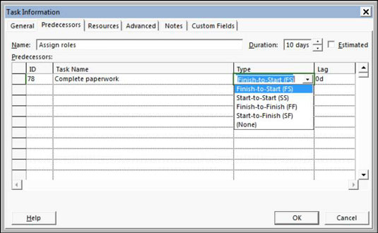 Task Information box in Microsoft Project 2013.