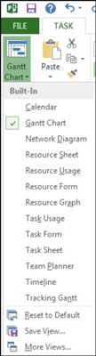 Drop down menu in Microsoft Project's task tab.