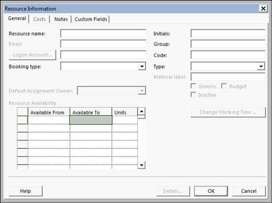 Microsoft QuickBooks' Resource Information screen.
