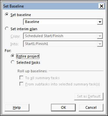 The Set Baseline dialog box in Project 2013.