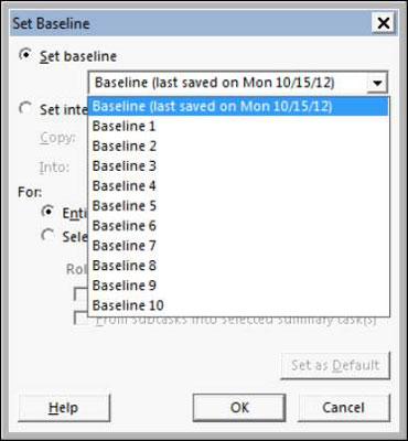Project's Set Baseline dialog box