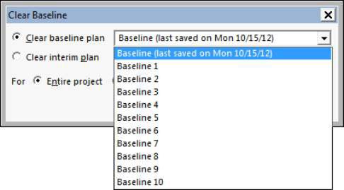 The Clear Baseline dialog box in Project 2013.