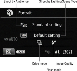 Figure 3: Whether you can adjust these settings depends on the scene mode.