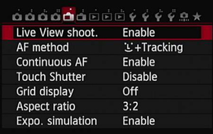 Figure 3: The Live View Shoot option determines whether Live View photography is possible.