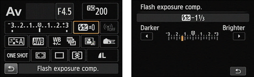 The quickest way to adjust flash power is via the Quick Control screen.