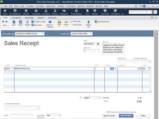 How To Record A Sales Receipt In Quickbooks 2014 Dummies
