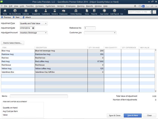 adjust physical counts and inventory values in quickbooks 2014 dummies