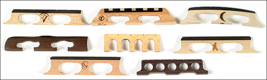 Banjo bridges come in a variety of woods, weights, and sizes. [Credit: Photograph courtesy of Elder