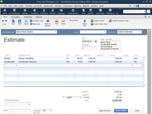 How To Use Job Estimates In QuickBooks Dummies - How to create an invoice in quickbooks