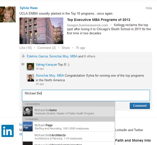 Mention other people in your LinkedIn updates or comments.