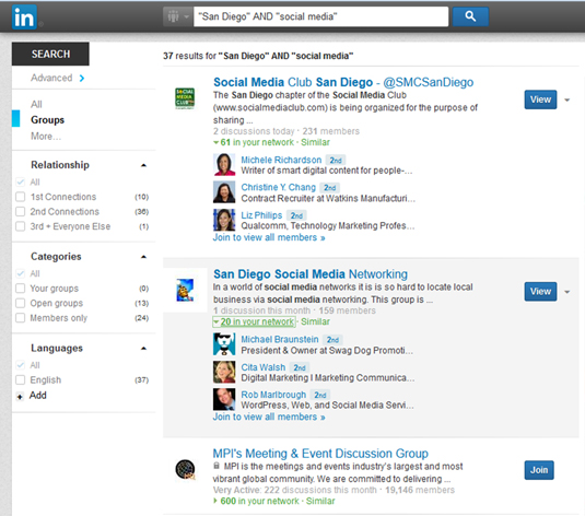 See what LinkedIn groups (and members) share an interest with you.