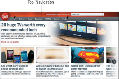 The CNET website uses top navigation to guide users.