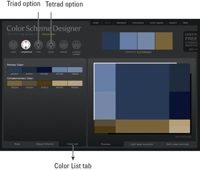 When you insert a color into the Color Scheme Designer, it selects a palette that goes with your color.