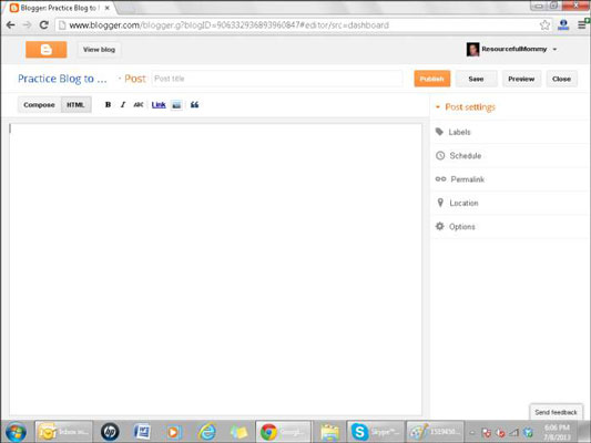 Blogger's publishing interface.