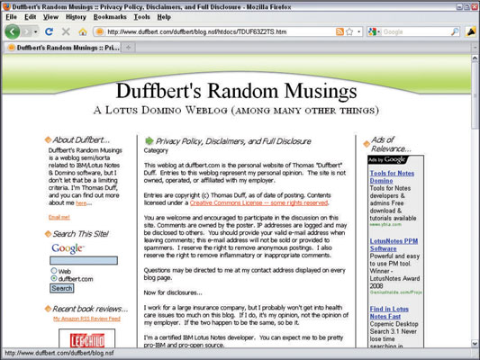 A disclosure statement on Duffbert's Random Musings