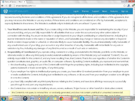 WordPress terms of service.