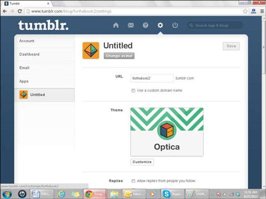 Customizing a blog's appearance on Tumblr.