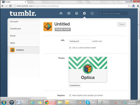 Customize tumblr blog