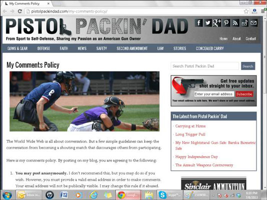 Blog Pistol Packin' Dad's comment policy