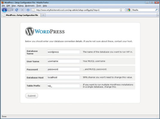 Setting up a WordPress blog with a database host.