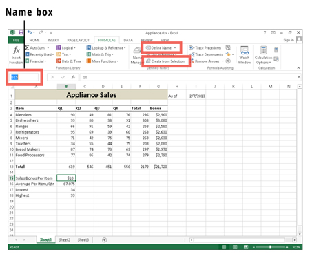 Creating a Name Range in Excel.