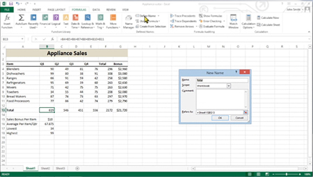 The New Name dialog box in Excel.