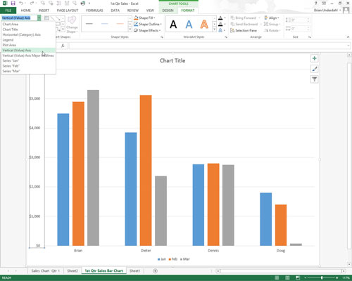 How to format the x and y axis values on charts in excel 2013 click the x axis or y axis directly in the chart and then click horizontal axis or vertical axis on its drop down list ccuart Choice Image