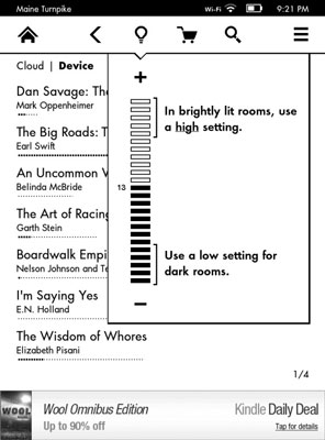 Toolbars for the Kindle Paperwhite - dummies