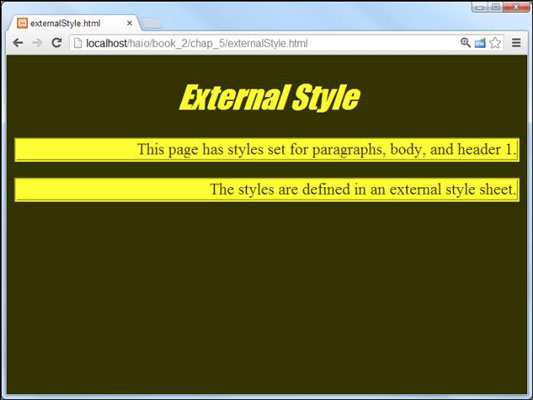 How To Use An External Style Sheet For Html5 And Css3 Programming Dummies