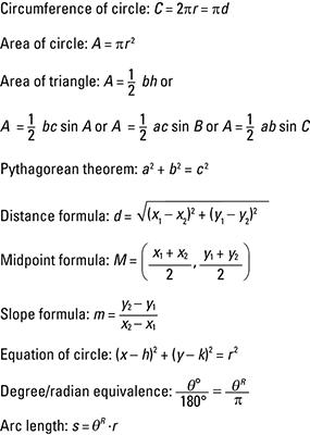 Trigonometry For Dummies Cheat Sheet - dummies