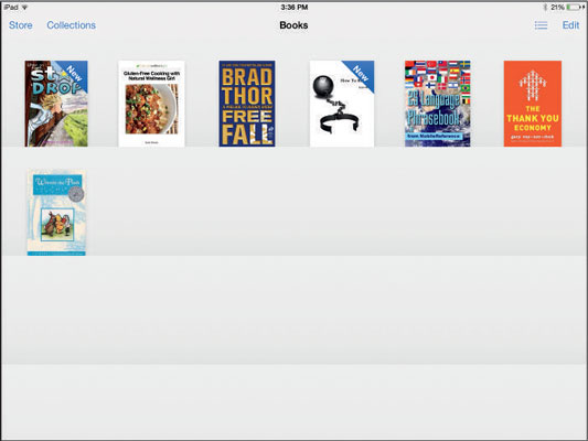 Switch back and forth between Bookshelf and List view using these buttons.