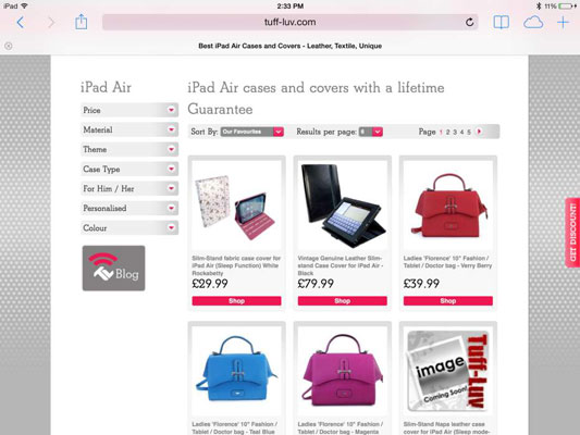 Casemaker Tuff-Luv's website, where you can find a variety of iPad cases.