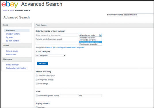 How To Use The Ebay Advanced Search Box Dummies