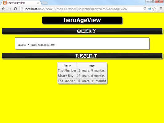 Screenshot of the VIEW, a tool in MySQL 5.0 that allows users to view their data in a virtual table.