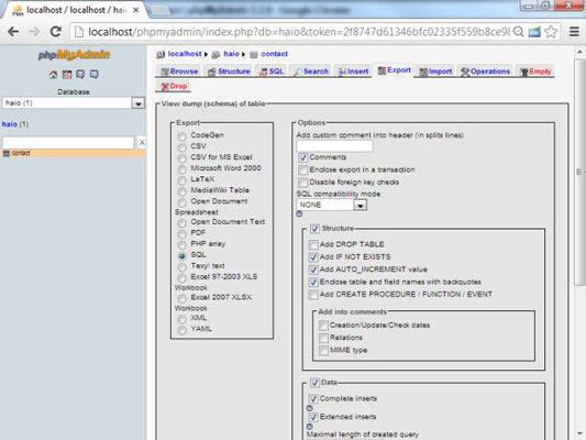 localhost phpmyadmin structure