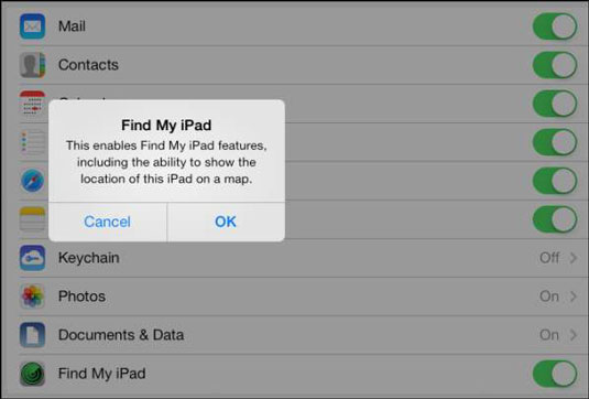 Turn the feature on or off to locate your iPad from your computer.