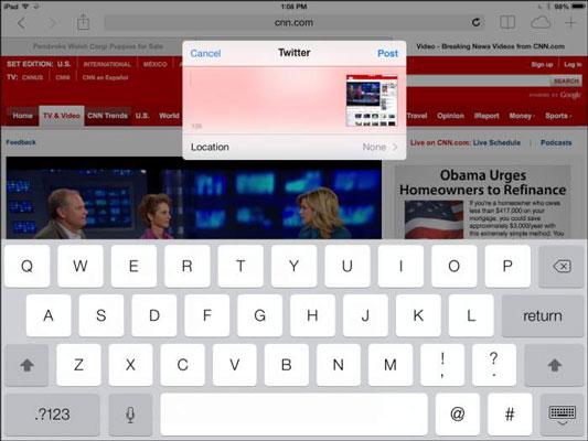 Tweeting is a simple menu choice in several apps.