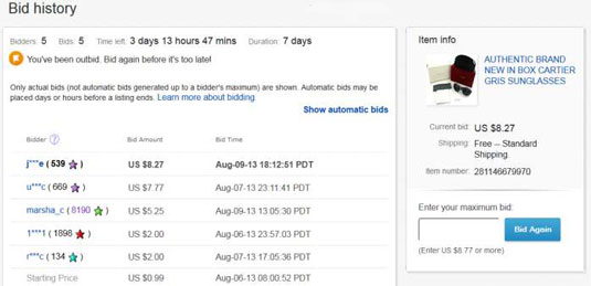 How To Find Out An Ebay Item S Bidding History Dummies