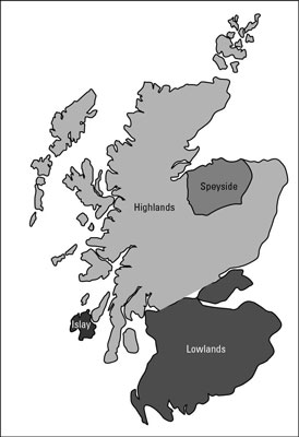Map of the four main Whisky production regions in Scotland.