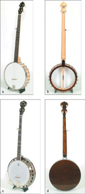 Comparing open-back (a and b) and resonator (c and d) five-string banjos. [Credit: Photographs cour