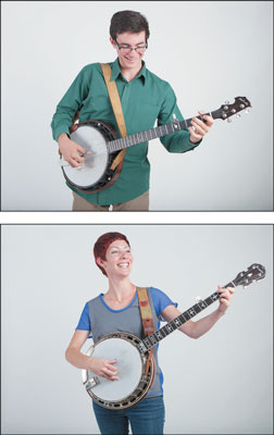 Two different ways to wear a banjo strap. [Credit: Photographs by Anne Hamersky]