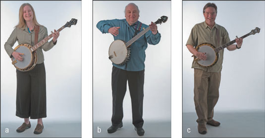 Erin (a), Jody (b), and Bill (c) use straps for standing while playing and hold their banjos slight